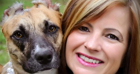 After severe attack, woman rescues an abused dog