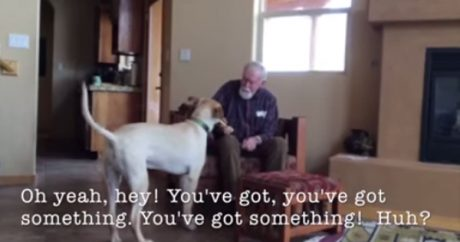 Non-verbal man with Alzheimer's speaks to family dog