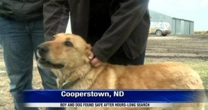 Family dog protects missing North Dakota toddler through stormy night