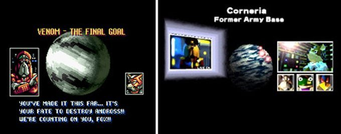 Pepper briefs the squadron in StarFox (left) and StarFox 64 (right). (Photo credit: VGMuseum)