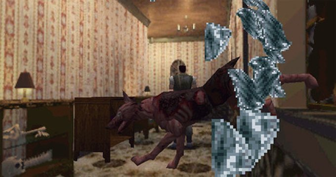 The dog crashing through the window in Resident Evil on the PlayStation in 1996 is one of the scariest moments in video-game history. (Photo credit: Moby Games)