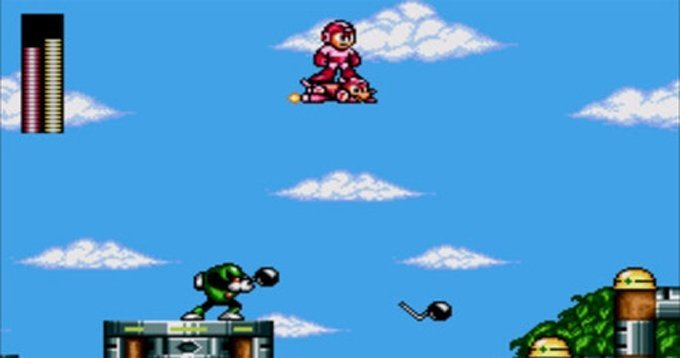 One of the many ways Rush, the robotic dog, saves his robotic master, Mega Man. (Photo credit: ScrewAttack.com)