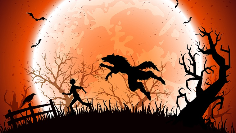 A werewolf in silhouette leaps at a person running through a field with an old fence and gnarled trees in front of a full, orange moon.
