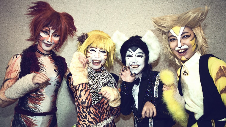 Four friends dressed as cats pose for the camera.