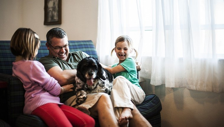 Two young girls play with their father and a dog on the couch.