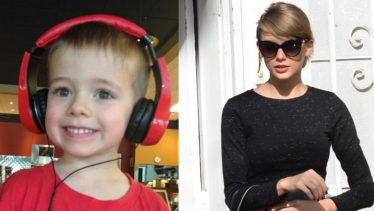 A side-by-side photo of Jacob, a five year old wearing red headphones, and pop star Taylor Swift.