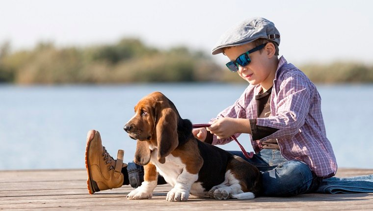 Little sweet boy with a hat and sunglasses sits by the river with his dog. They enjoy together on a beautiful sunny day. Child hugging his dog. Growing up, love for animals - dogs, free time, travel, vacation. Copy space