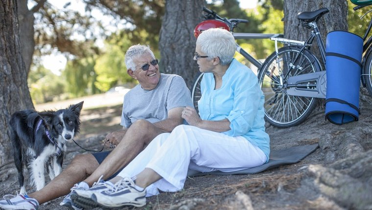Elderly couple sitting outdoors with dog and bicycles