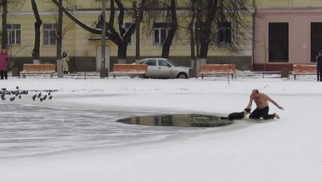 Shirtless Russian Hero Saves Dog That Fell Through The Ice On A Frozen Pond
