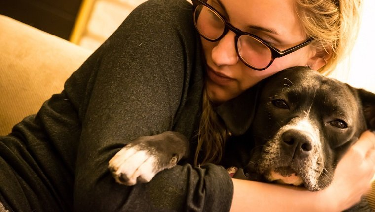 Close-Up Of Woman Hugging Dog At Home