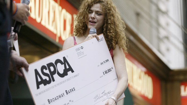 "NBC News -- 10th Annual ""Broadway Barks"" -- Pictured: Actress Bernadette Peters attends the 10th Annual ""Broadway Barks"" cat and dog adopt-a-thon at the Shubert Theater on Broadway in Times Square, NY on July 13, 2008 -- Photo by: Curtis Means/NBC NewsWire"