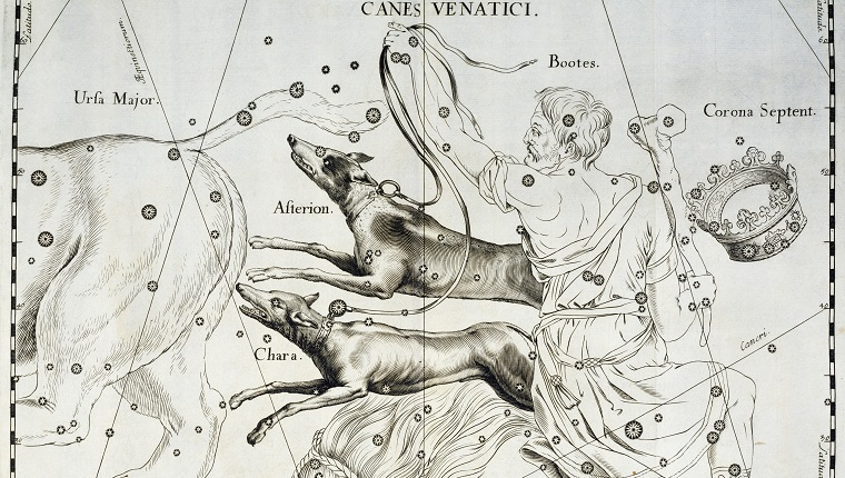 POLAND - JANUARY 09: Canes Venatici, the boreal constellation of the Hunting Dogs, illustration taken from Johann Hevelius's (1611-1687) star atlas Firmamentum Sobiescianum sive Uranographia, Gdansk, 1690. Milan, Biblioteca Dell'Osservatorio Astronomico Di Brera (Library) (Photo by DeAgostini/Getty Images)