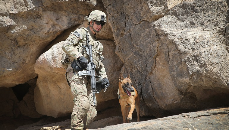 KANDAHAR, AFGHANISTAN - FEBRUARY 28: SPC Daniel Jackson from Centralia, Kansas and his dog Bailey with the 904th Military Police Detachment search through caves looking for weapons caches during a patrol with the U.S. Army's 4th squadron 2d Cavalry Regiment on February 28, 2014 near Kandahar, Afghanistan. Defense Secretary Chuck Hagel announced recently he is making preparations for a complete military withdrawal from Afghanistan because Afghanistan President Hamid Karzai continues to refuse to sign the Bilateral Security Agreement. Fourth squadron 2d Cavalry Regiment is responsible for defending Kandahar Airfield against rocket attacks from insurgents. (Photo by Scott Olson/Getty Images)
