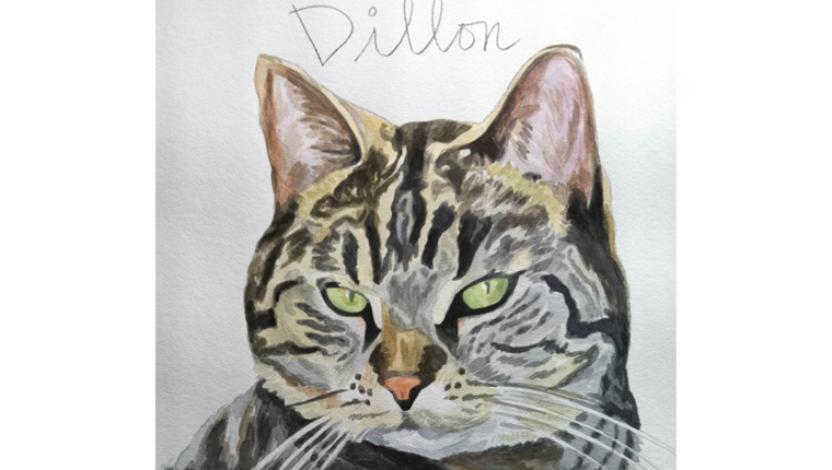 Gene's watercolor of a cat named Dillon