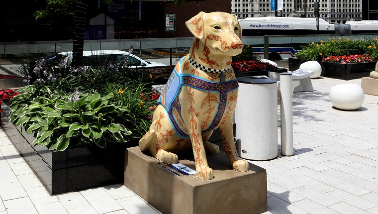CHICAGO - JULY 13: Tony Passero's 'K9s For Cops' sculpture of K9 Percy is displayed at the Hyatt Regency Chicago Hotel in Chicago, Illinois on July 13, 2019.