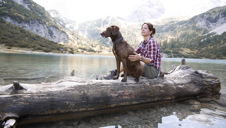 Austria, Tyrol, woman with dog sitting on tree trunk at lake Seebensee