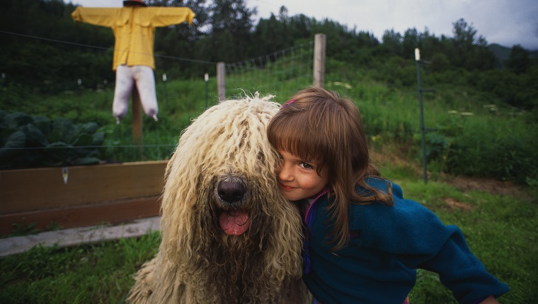 5-year-old Mariah Meyer poses with her Hungarian sheepdog Bear in the backyard of her home.