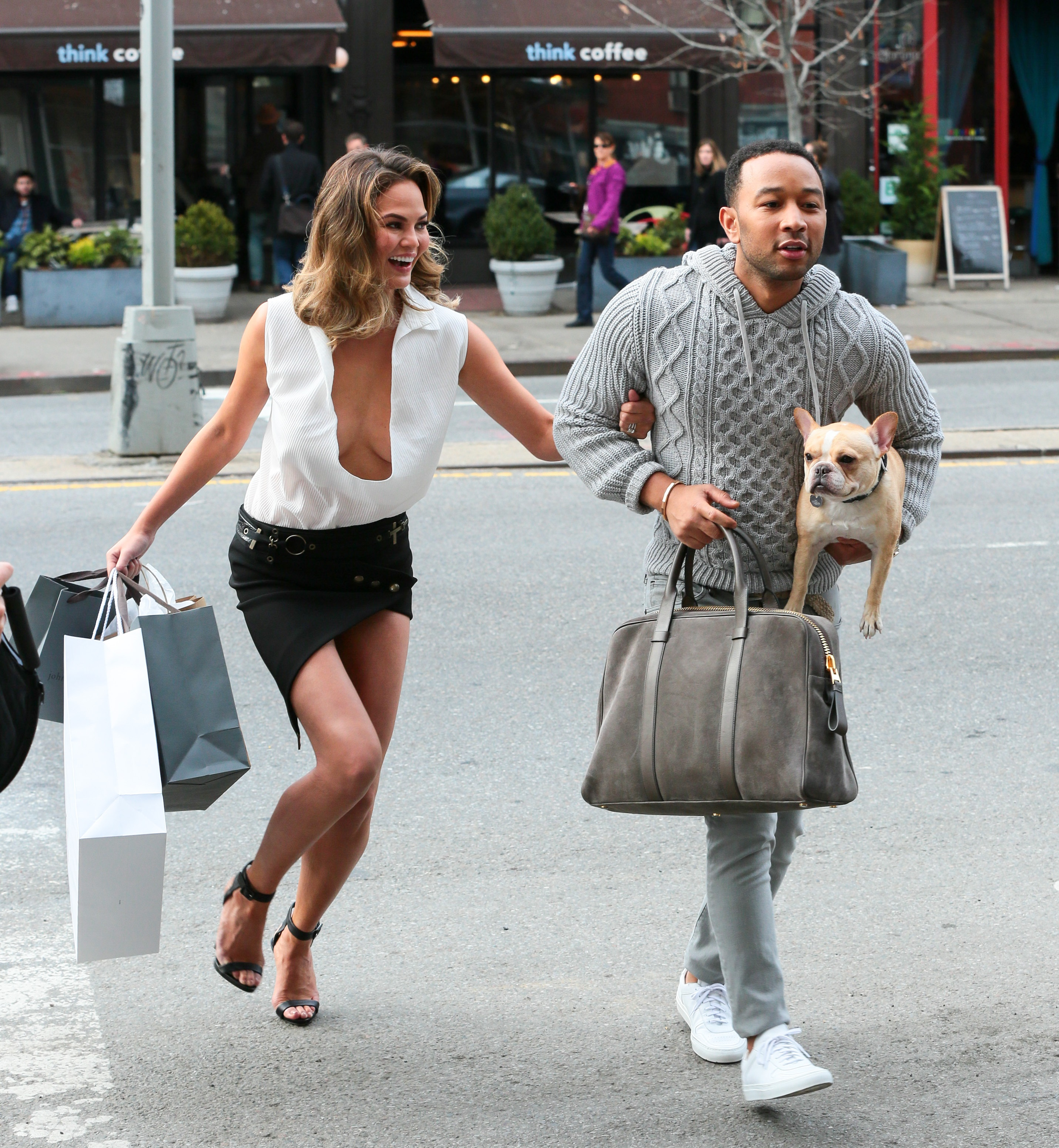 Chrissy Teigen And John Legend Run With Their Pup, Pippa